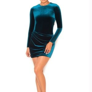 Long sleeve teal mini velvet dress